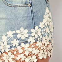CURVE Exclusive Denim Short With Crochet Lace