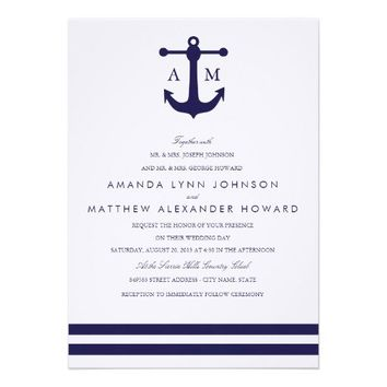 Nautical Navy Wedding Invitation from Zazzle.com