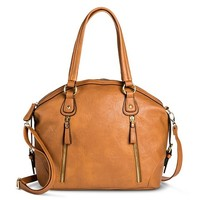 Women's Tote Handbag with Vertical Zipper Pockets - Cognac