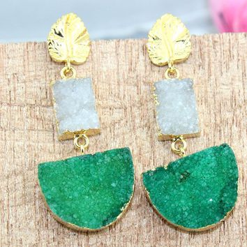 Luxurious Gold Electroplated Green & White Natural Agate Druzy Earring Jewelry