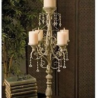 "ELEGANT 34"" TALL VINTAGE-CHANDELIER-STYLE CANDELABRA  WITH JEWELLED DRAPING"