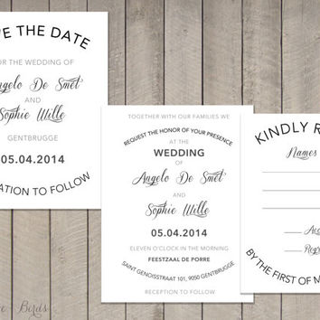 Wedding invitation Set Calligraphy Modern Round - Save the Date, Invitation, RSVP - Digital file
