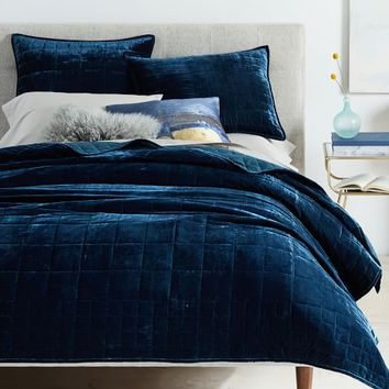 Lush Velvet Quilt + Shams - Regal Blue