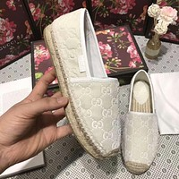 GUCCI New Popular Women Comfortable Slip-On Flat Shoes Single Shoe Fisherman Shoes(6-Color) White I-ALS-XZ