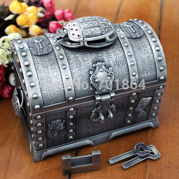Egyptian Style Big Size Treasure Chest with Lock 2 Layers Vintage Jewelry Box Carrying Case Trinkets Packaging
