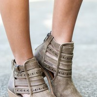 All She Wrote Taupe Ankle Boots