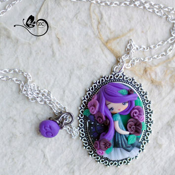 polymer clay necklace / fairy/ fimo/ clay / zingara creativa