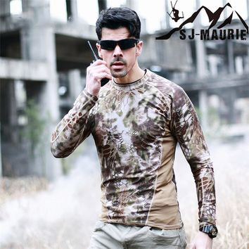 Camouflage T-shirt Long Sleeve Tactical Hunting Base Men Soldiers Combat Military T Shirt Quick Dry O Neck Camo Army Shirt