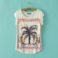Coconut Tree Print Short Sleeve T-Shirt