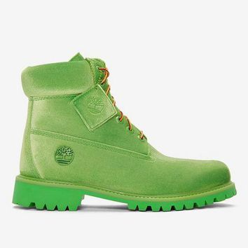 YYY Virgil Abloh OFF-WHITE x Timberland Velvet Hiking Boots Green
