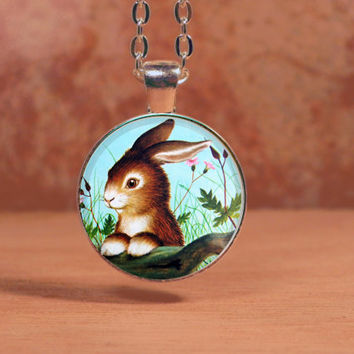 Home for a Bunny Little Golden Book Classic Children's Book Pendant Necklace Inspiration Jewelry