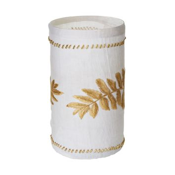 Linen Gold Stitched Fern Votive-Lg