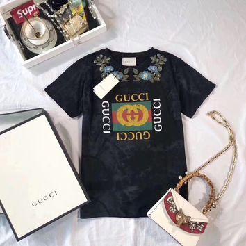"""""""Gucci"""" Women Casual Fashion Flower Embroidery Logo Letter Pattern Print Short Sleeve T-shirt Tops Tee"""