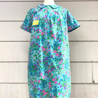 Vintage Housecoat or Robe, NOS, Blue Floral Caper Coat by Amy Sue, Size S, Snap Front, circa 1960s
