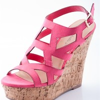 Quirky Cork Wedge Cage Sandal - Pink from Breckelles at Lucky 21
