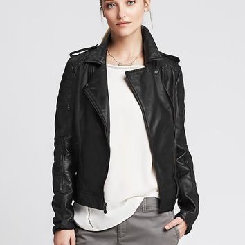 Banana Republic Womens Black Leather Moto Jacket