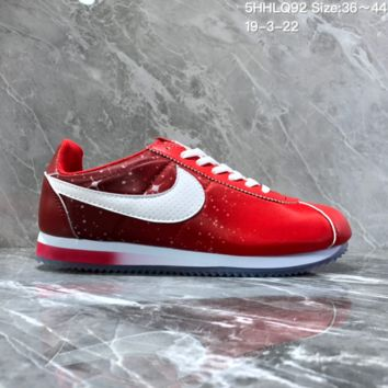hcxx N1128 Nike Wmns Classic Cortez Nylon Prem Nightscape Star Crystal Bottom Running Shoes Red