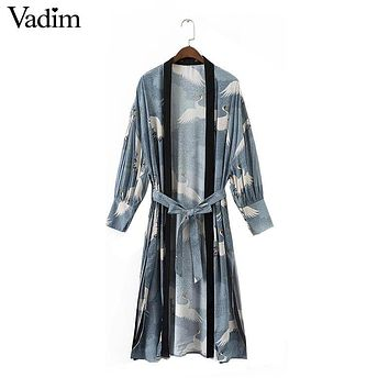 Vadim women vintage cranes print kimono shirts sashes side split long sleeve ladies autumn outerwear long tops LT2067