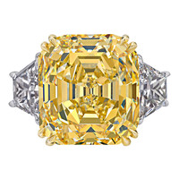 Rare Canary Intense Yellow Emerald Cut Diamond Ring