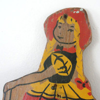 Dutch Girl Memo Pad Pencil Holder Vintage Wood Wall Hanging Red Yellow Painted