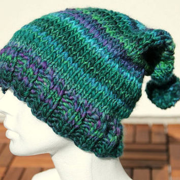 Super slouchy hat - slouchy beanie, handknit in blue, green and purple, perfect holiday gift for her or him