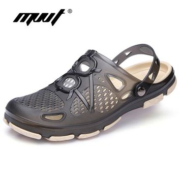 New Summer Jelly Shoes Men Beach Sandals Hollow Slippers Men Flip Flops Light Sandalias Outdoor Summer Chanclas