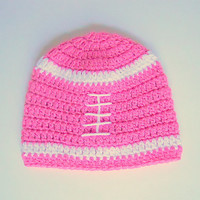 Bright Pink Baby Girl Football Hat With White Stripes 6 To 12  Month Infant Fall Cap  Winter Beanie