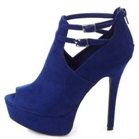 Ankle Strap Cut-Out Peep Toe Booties by Charlotte Russe