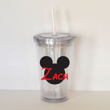 Mickey Mouse Monogram with Child's Name- Personalized Acrylic Tumbler, Kid Size