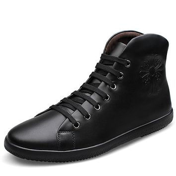 Big Size Men Shoes Fashion Black Men Boots Pointed Toe Genuine Leather Hording Riding Boots Winter Men Shoes With Fur