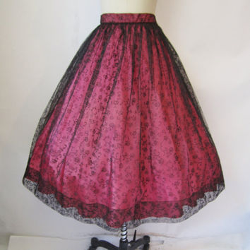 Vintage 1950's Skirt // Black Flocked Tulle by TheVintageStudio
