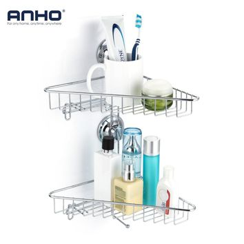 ANHO Bathroom Shower Caddy Basket Suction 2 Layers Wall Mount Organizer Holder Storage Basket Towel Rack Soap Dish