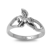 925 Sterling Silver Pegasus Winged Horse 11MM Ring