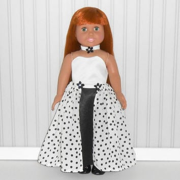Black and White Satin Special Occasion Gown for 18 inch dolls with Polka Dotted Skirt and Choker American Doll Clothes
