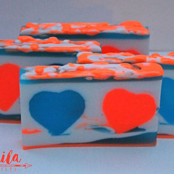 summer soap, heart soap, glycerin soap , bar soap, wedding soap favors, love soap hearts, orange and blue, cobalt blue favors, bright soap