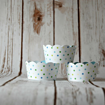 Blue Polka Dot Cupcake Wrappers