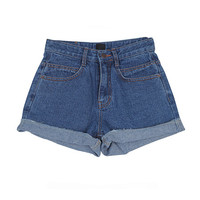 Roll-Up Blue Slit Shorts
