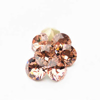 Six Blush Rose 8mm 1088 Foiled Swarovski Xirius Pointed Back Chaton Crystal DKSJewelrydesigns