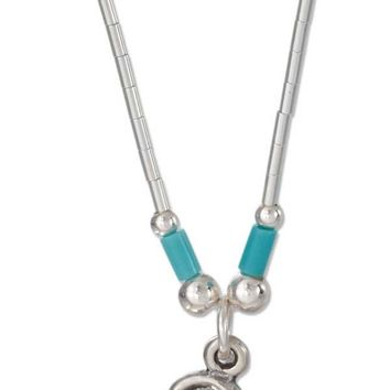 "Sterling Silver 16"" Liquid Silver Gecko Necklace With Simulated Turquoise Heishi"