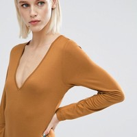 ASOS Body With V Neck Long Sleeve And Thong at asos.com