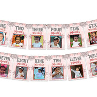 Pink Wonderland 1st Birthday Photo Banner -  Winter ONEderland Timeline 1st Birthday Banner - Milestone First Birthday Banner - Party Banner