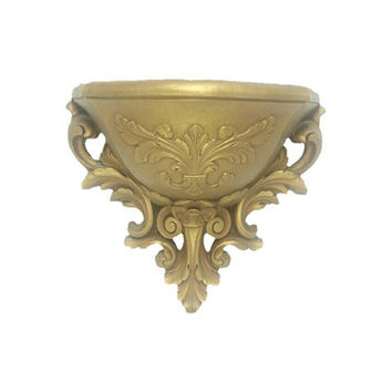 Vintage Ornate Gold Resin Wall Pocket Planter, Home Office Decor, Hollywood Recency, Gold Home Decor