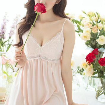 Sling Sleeping dress Female Summer Day Fairy Court Cute Princess Sling Short dress Deep V Lace Sling wj671 sexy night wear