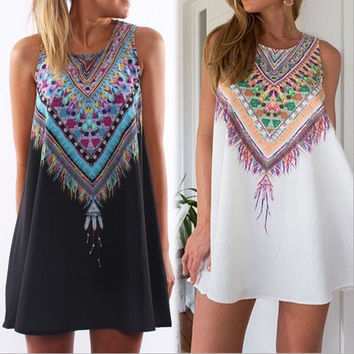 Sleeveless Boho Dress [6259290116]