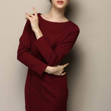 Burgundy Long Sleeve Bodycon Mini Dress