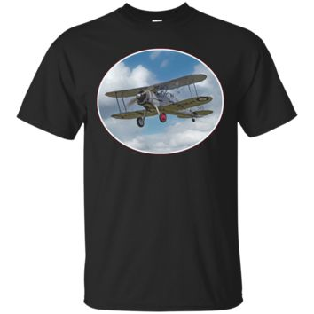 Cool Vintage Retro Biplane In The Clouds - T-Shirt