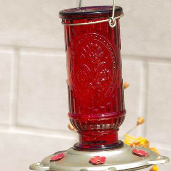 Vintage Red Glass Hummingbird Feeder - Easy to Fill & Clean - 100% Guaranteed That Your Hummers Will Love!