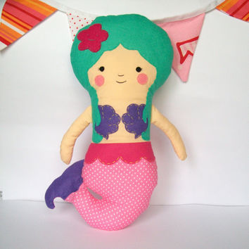 Mermaid doll, rag doll, big plushie - Perfect for little girls - Many colors available - Can be personalized - READY to ship