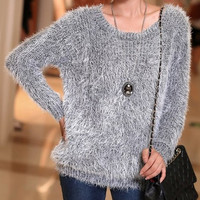 Gray Long Sleeve Pullover Fur Sweater