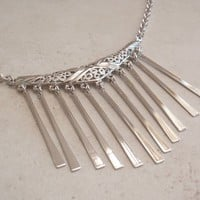 Fringe Necklace Emmons Silver Tone Bib Adjustable Vintage